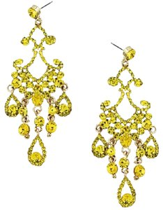 MEME Chic Elegant Yellow Jonquil Rhinestone Crystal Chandelier Earrings