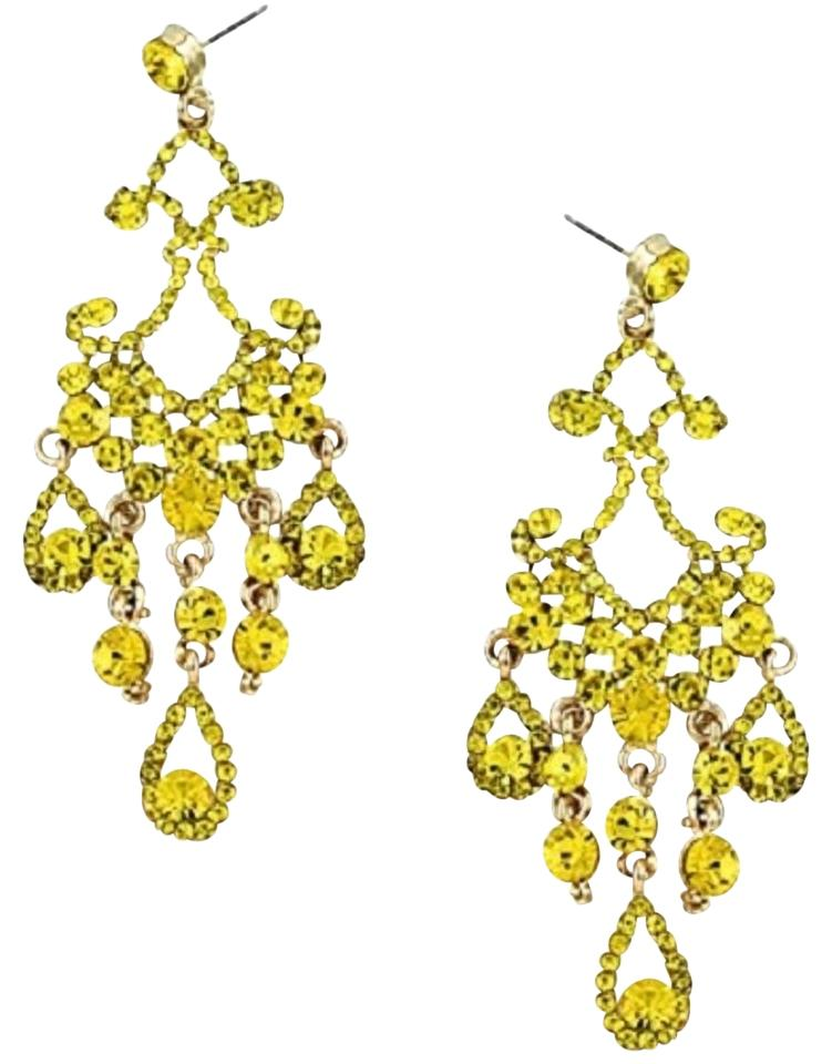 Yellow and gold tone elegant jonquil rhinestone crystal chandelier meme chic elegant yellow jonquil rhinestone crystal chandelier earrings aloadofball Image collections