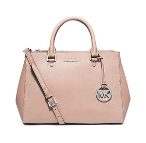 Michael Kors Leather Satchel in Ballet/Silver