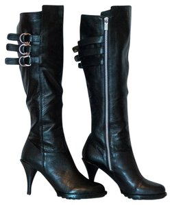 Michael Kors Leather Stiletto Buckles black Boots