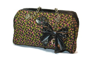 Betsey Johnson Betseyville Quilted Satchel in Black and floral