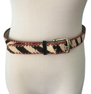 Other Pony hair belt in black/white & red