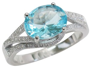 9.2.5 Gorgeous aquamarine and white sapphire royal cocktail ring size 7