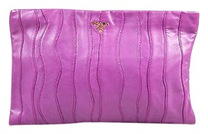 Prada Leather Wavy Purple Clutch