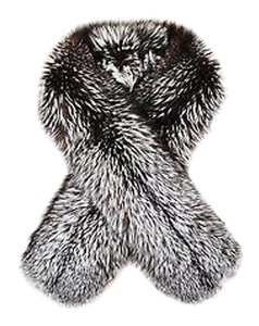 Versace Vintage Gianni Versace Couture Black Gray White Silver Fox Fur Stole
