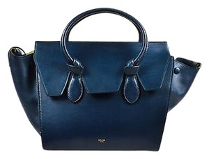 Céline Navy Leather Double Handle Mini Tie Tote in Blue