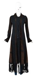 Dolce&Gabbana Brown Crochet Trim Suede Leather Long Fringe Coat