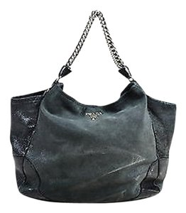 Prada Metallic Nubuck Leather Silver Tone Chain Link Strap Shoulder Bag