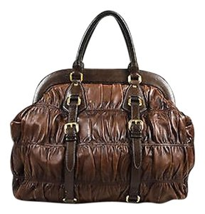 Prada Leather Nappa Gaufre Tote in Brown