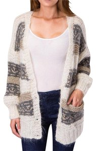 Mes Demoiselles Oversized Slouchy Coat Cardigan Metallic Loose Knit Sweater