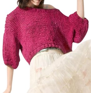 Mes Demoiselles Oversized Slouchy Bohemian Festival Cropped Tape Knit Classic Sweater