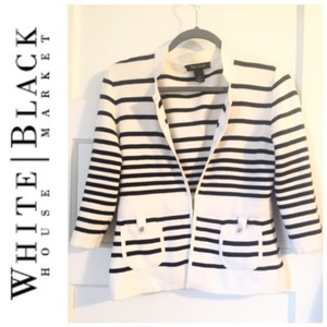 White House and Black Market Striped Blazer S Black White Blazer