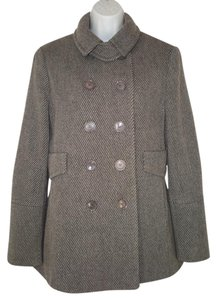 Akris Wool Cashmere Double Breasted Striped Trench Coat