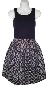 Anthropologie short dress blue Ponte Fit & Flare Geometric Navy on Tradesy