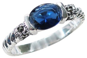9.2.5 Very nice oblong blue sapphire and marcasite ring size 6