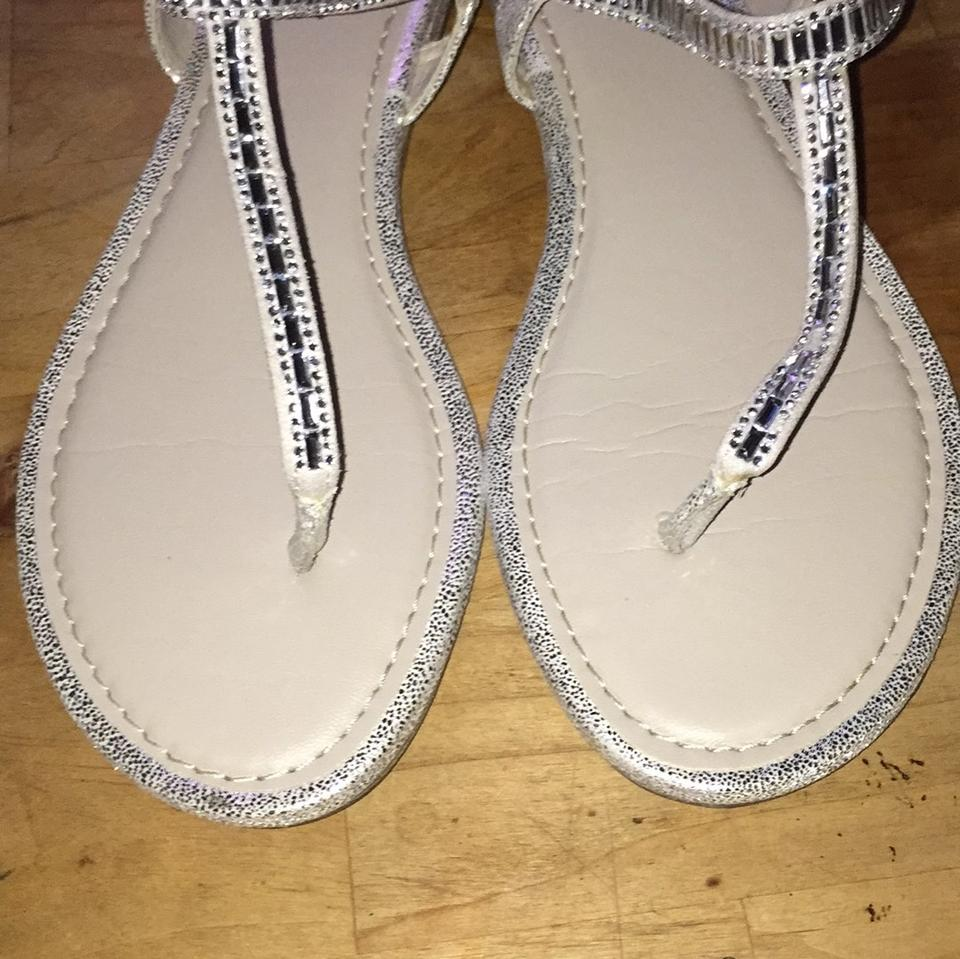 Fioni Silver Women S Prize Sling Sandals Flats Size Us 8