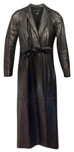 Donna Karan Lambskin Leather Trench Trench Coat