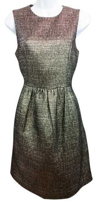 Item - Metallic Black and Gold Embossed Above Knee Night Out Dress Size 4 (S)