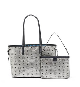 MCM Leather Tote in Silver