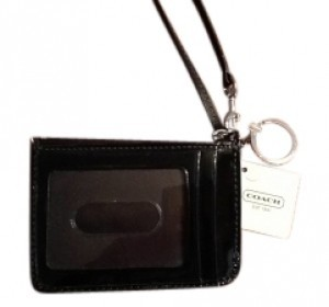 Coach New Signature Id Skinny Wristlet in Black