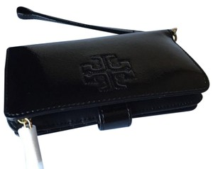 Tory Burch Patent Leather Black Wristlet in black, gold
