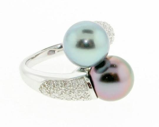 Other Stunning 18k White gold with diamonds & twin 10.2 mm South Sea Pink & Green Rose Cultured pearl bypass ring