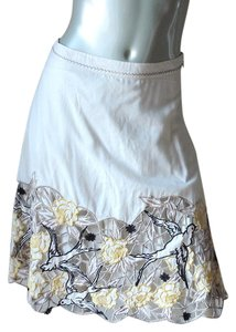Anthropologie Lithe Swallow Skirt ivory