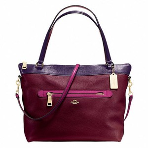 Coach Cora Domed Purse Satchel in BURGUNDY/AUBERGINE MULTI
