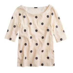 J.Crew Polka Dot Sequin Top Ivory Black