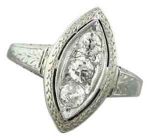 Other Ladies Antique Art Deco 18K White Gold Triple Diamond Engagement Ring