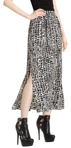 Rachel Zoe Maxi Silk Animal Print Maxi Skirt Black White Gray