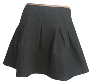 Ralph Lauren Blue Label Wool Leather Mini Skirt Black
