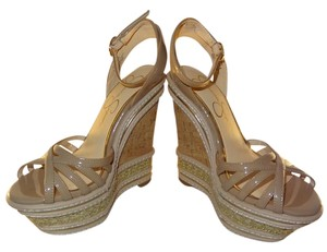 Jessica Simpson Adjustable Straps Cork Platform Crisscross Strap Padded Beige Wedges