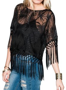 Show Me Your Mumu Madison Leaf Boho Chic Classic Gauze Swingy Fringed Delicate Swing Tunic Top Black