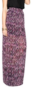 Show Me Your Mumu Classic Boho Print Banded Sophisticated Chic Festival Geometric Slit Maxi Skirt Purple