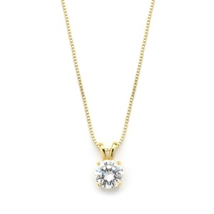 Mariell Delicate 14k Gold Cz Round-cut Necklace With Double Loop Top 2002n-g