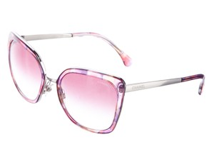 Chanel Pink, purple Chanel logo lace print oversize square sunglasses
