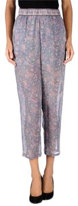 Mes Demoiselles Printed Floral Silk Casual Work Office Relaxed Cropped Trouser Pants Purple Multi