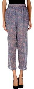 Mes Demoiselles Printed Floral Silk Casual Work Office Relaxed Cropped Trouser Pants Purple