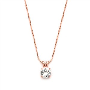 Mariell Delicate 14k Rose Gold Cz Round-cut Necklace 2002n-rg