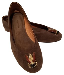 Anthropologie Beetle Suede Olive Green Flats