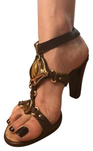 Giuseppe Zanotti Gold Jeweled Leather brown Sandals