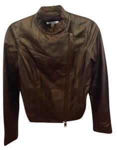 DKNY Brown irredescent Leather Jacket