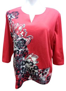 Alfred Dunner Floral Top Red