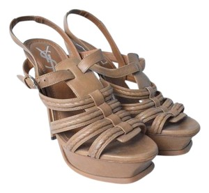 Saint Laurent Yves Tribtoo Brown Sandals