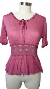 Gucci Rose Lace Satin Ribbon Top Pink