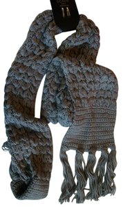 Mix It Fringed End Gray Cable Knit Winter Scarf