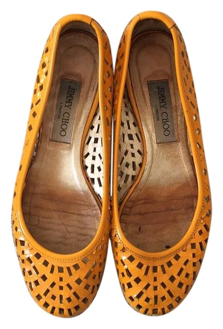 Item - Yellow Perforated Patent Flats Size US 9 Regular (M, B)
