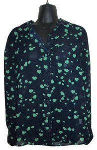Banana Republic Heart Chiffon Sheer Button Down Formal Top Navy & Green