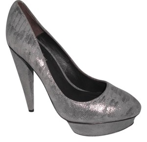 Elizabeth and James Silver Metallic Platforms